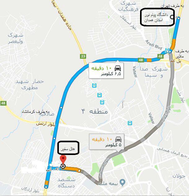 نقشه هتل سفیر
